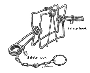 Conibear trap with safeties