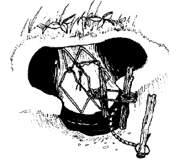 Figure 10. Method for setting a kill trap in a mountain beaver burrow.