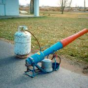 Propane cannon used to frighten birds and other wildlife from sensitive areas.